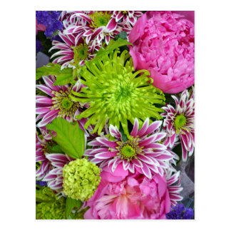 Pink and green floral bouquet postcard
