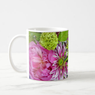 Pink and green floral bouquet print coffee mug