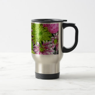 Pink and green floral bouquet travel mug