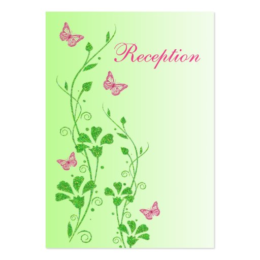 Pink and green floral butterflies enclosure card business