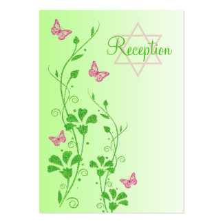 Pink and Green Floral Butterflies Enclosure Card Business Card