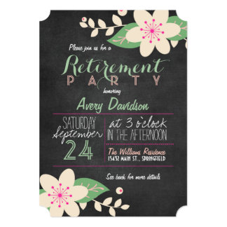 Pink and Green Floral Chalkboard Retirement Party Card