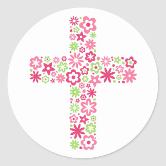 Pink and green floral cross easter seal sticker