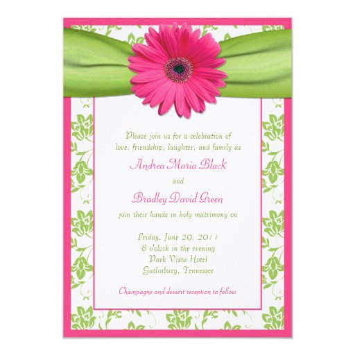 """Pink and Green Floral Damask Wedding Invitation 5"""" X 7"""" Invitation Card"""