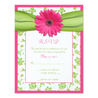 Pink and Green Floral Damask Wedding Reply Card