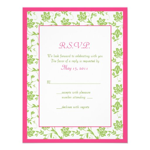 Pink And Green Floral Damask Wedding Reply Card 425 X 55 Invitation Card