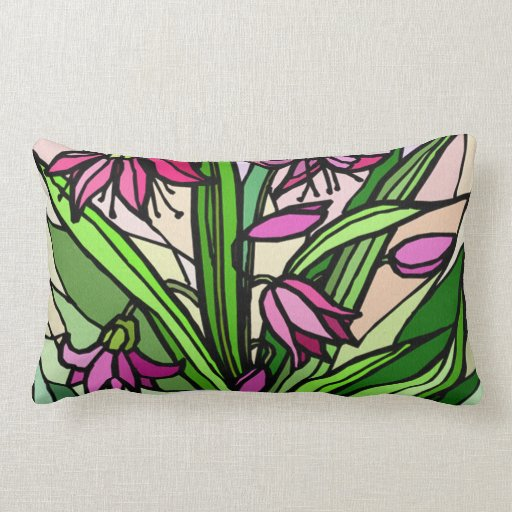 Pink and green floral  design pillow
