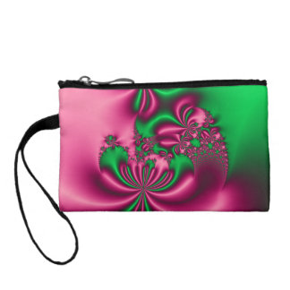 Pink and Green Floral Flow Coin Purse