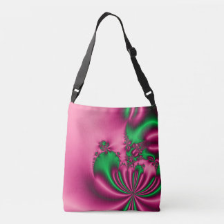 Pink and Green Floral Flow Crossbody Bag
