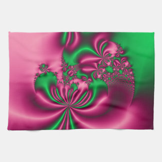 Pink and Green Floral Flow Hand Towel