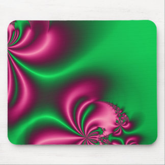 Pink and Green Floral Flow Mouse Pad