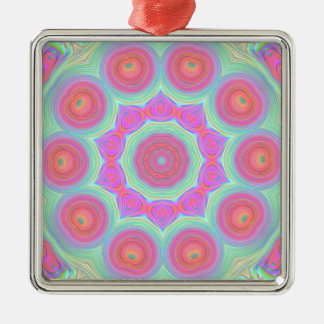 Pink and Green Floral Kaleidoscope Design Square Metal Christmas Ornament
