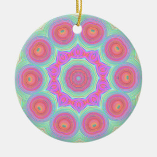Pink and Green Floral Kaleidoscope Design Double-Sided Ceramic Round Christmas Ornament
