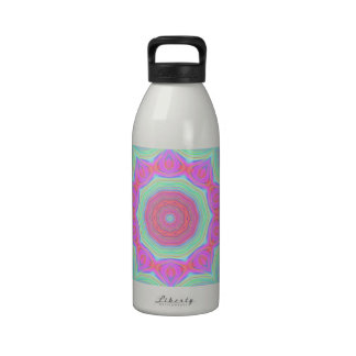 Pink and Green Floral Kaleidoscope Design Reusable Water Bottles