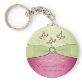 Pink and Green Floral Monogrammed Keychain keychain