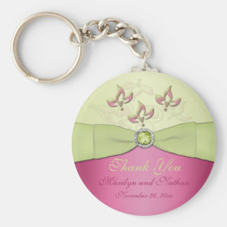 Pink and Green Floral Monogrammed Keychain
