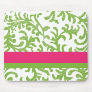 Pink and Green Floral Pattern Mouse Pad