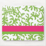 Pink and Green Floral Pattern Mousepad