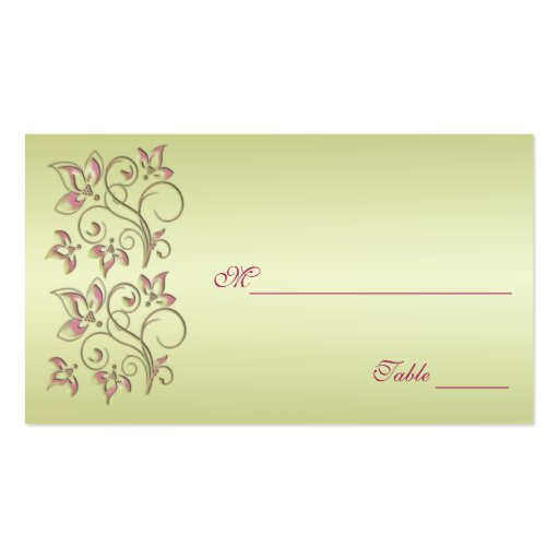 Pink and Green Floral Placecards Business Card Template