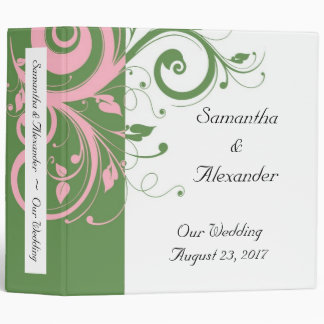 Pink and Green Floral Swirl Wedding 3 Ring Binder