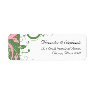 Pink and Green Floral Swirl Wedding Label