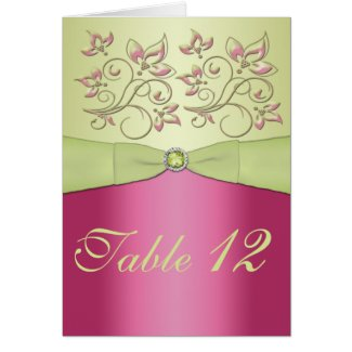 Pink and Green Floral Table Number Card card