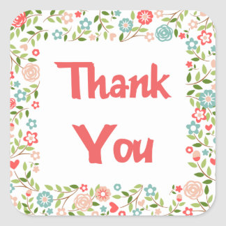 Pink And Green Floral Thank You Flower Stickers