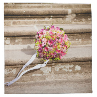 Pink and Green Floral Wedding Bouquet Cloth Napkin