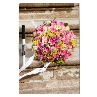 Pink and Green Floral Wedding Bouquet Dry-Erase Board