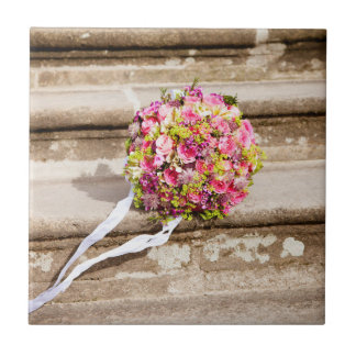 Pink and Green Floral Wedding Bouquet Tile