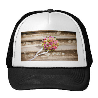 Pink and Green Floral Wedding Bouquet Trucker Hat