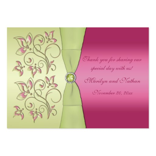 Pink and Green Floral Wedding Favor Tag Business Card Templates