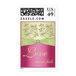 Pink and Green Floral Wedding Postage
