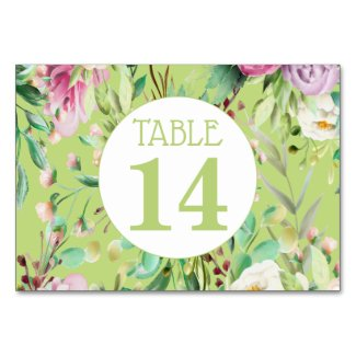 Pink And Green Floral Wedding Table Number Card