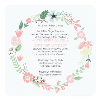 Pink And Green Floral Wreath Wedding Card