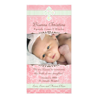 Pink and Green Florals Birth Announcement Photo Card