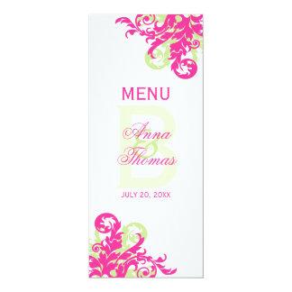 "Pink and Green Flourish Menu Card 4"" X 9.25"" Invitation Card"