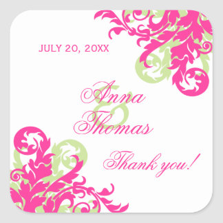 Pink and Green Flourish Wedding Favor Stickers