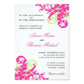 Pink and Green Flourish Wedding Invitation 5