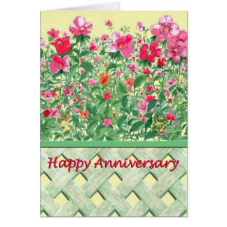 Pink and Green Flower Border Anniversary Greeting Card