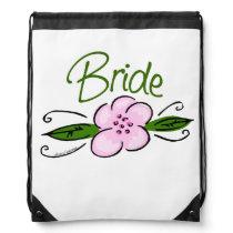Pink and Green Flower Design Bride Drawstring Bag