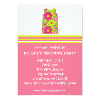 Pink and Green Flower Shift Dress Invitations
