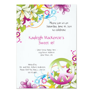 Pink and Green Flowers Peace Sign Sweet 16 5x7 Paper Invitation Card