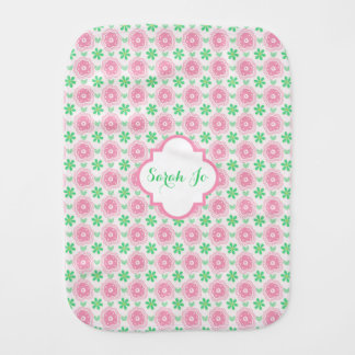 Pink and Green Flowers Personalized Burp Cloth