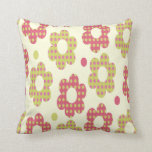 Pink and Green Flowers Throw Pillow