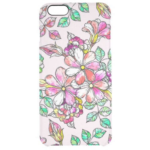 Pink and green flowers clear iPhone 6 plus case