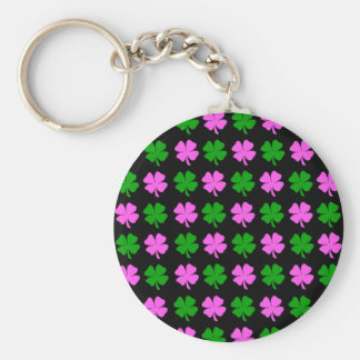 Pink and green four leaf clover design keychain
