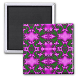 pink and green fractal 2 inch square magnet