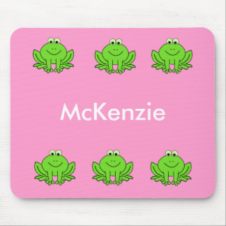 Pink and Green Frog Mouse Pad