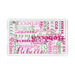 Pink and Green Fun Name Collage Allover Print Acrylic Tray